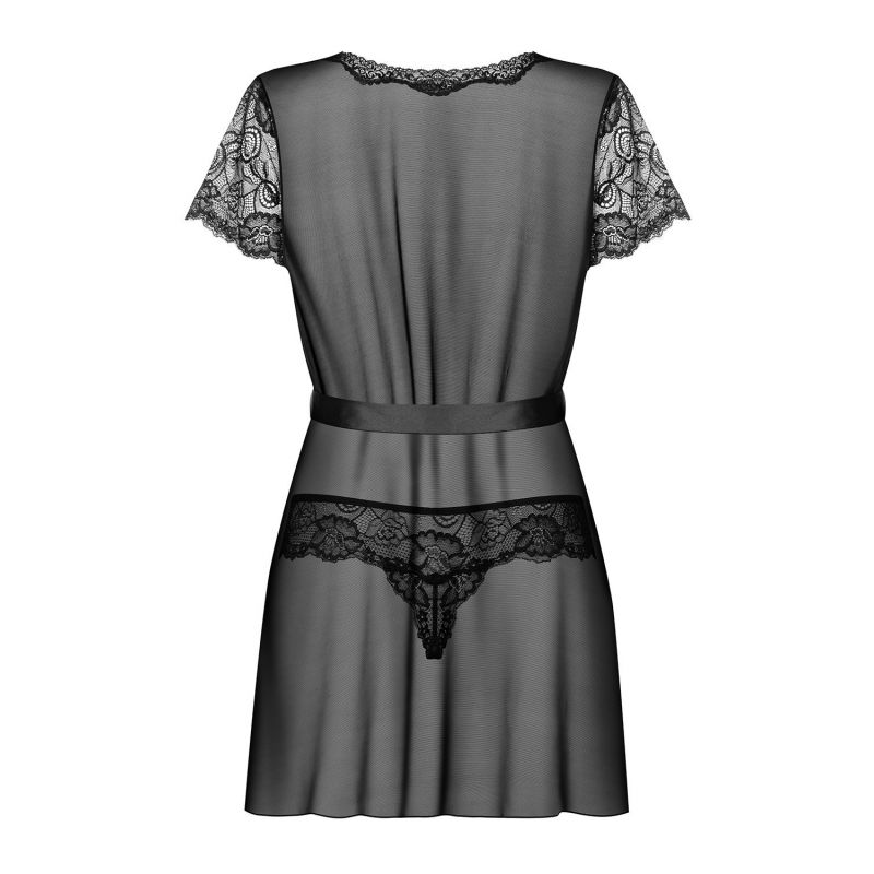 Alluria Peignoir & Thong Black